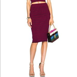 A.L.C. Pink and Navy Striped Bodycon Pencil Skirt